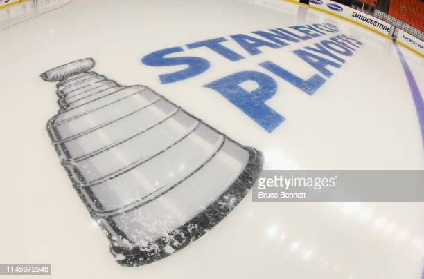 A general view of the inice logo prior to the game between the New York Islanders and the Carolina Hurricanes in Game Two of the Eastern Conference...