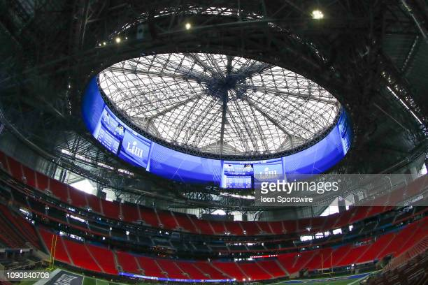General View of the inside of Mercedes Benz Stadium during Super Bowl LIII week on January 28 2019 in Atlanta GA