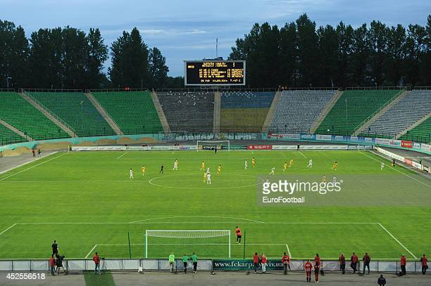 General view of the inside of the Arena Lviv during the Ukrainian Premier League match between FC Karpaty Lviv and FC Metalist Kharkiv at the Arena...