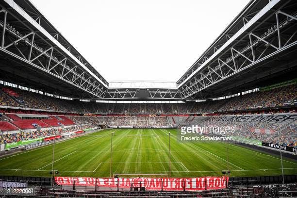 A general view of the inside of the Merkur SpielArena following the announcement of the German Football League to postpone the Bundesliga Matchday 26...