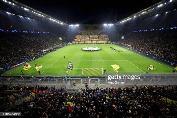 General view of the inside of the stadium as fans of Borussia Dortmund display a tifo prior to the UEFA Champions League group F match between...