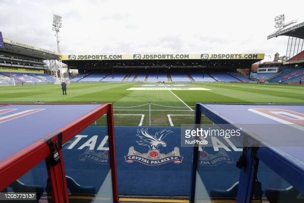 A general view of the inside of the stadium during the Premier League match between Crystal Palace and Watford at Selhurst Park London on Saturday...