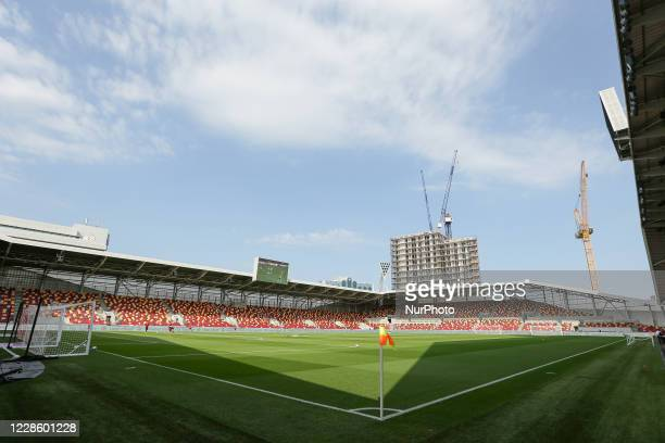 General view of the inside of the stadium during the Sky Bet Championship match between Brentford and Huddersfield Town at Griffin Park, London, UK,...