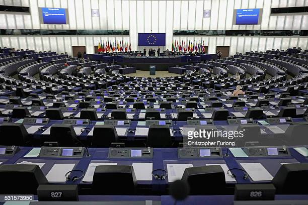 General view of the inside the European Parliament on May 12, 2016 in Strasbourg, France. The United Kingdom will hold a referendum on June 23, 2016...