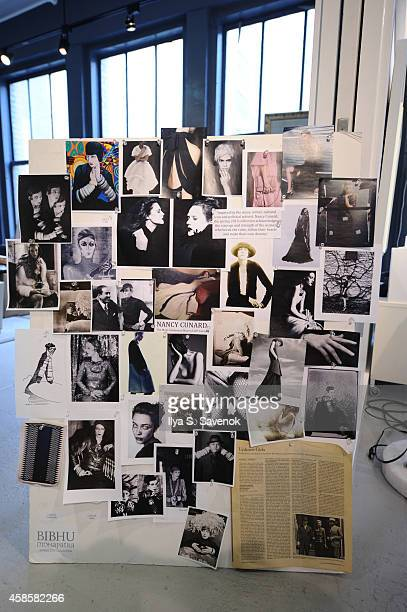 A general view of the inspiration board at fashion designer Bibhu Mohapatra's studio on November 7 2014 in New York City in preparation for the...