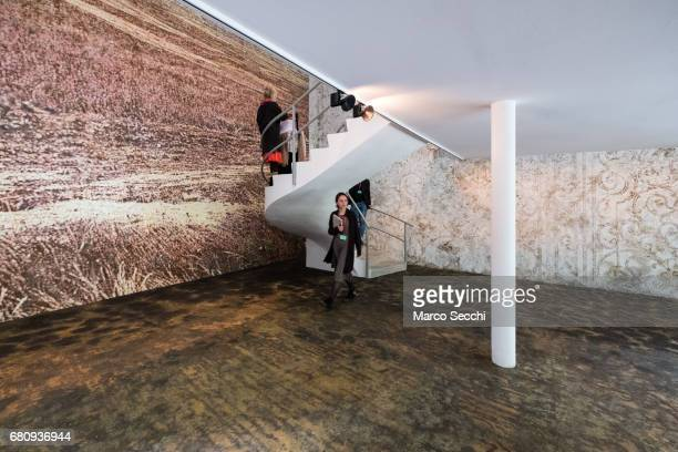 """General view of the installations by Gal Weinstein """"Ayalon Valley"""", steel wool and felt on plywood; """"Ornament"""", bronze wool, steel wool, glue, and..."""