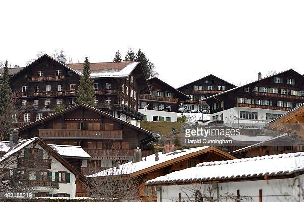 A general view of the Institut Le Rosey Gstaad winter campus on January 16 2014 in Gstaad Switzerland
