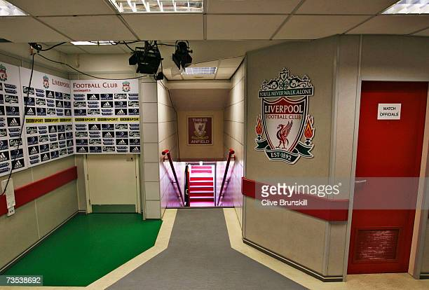 A general view of the interior and players tunnel at Anfield home of Liverpool Football Club on February 14 2007 in Liverpool England