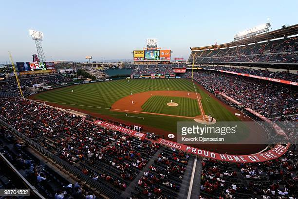 General view of the interior and the Budweiser sign at Angel Stadium during the baseball game between the Los Angeles Angels of Anaheim and the...