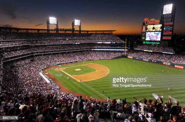 General view of the interior Citizens Bank Park from the outfield at dusk during Game Two of the National League Championship Series between the...