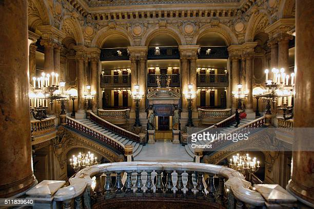 General view of the interior grand staircase of the Opera Garnier on February 23 2016 in Paris France The famous American billionaire Christopher...