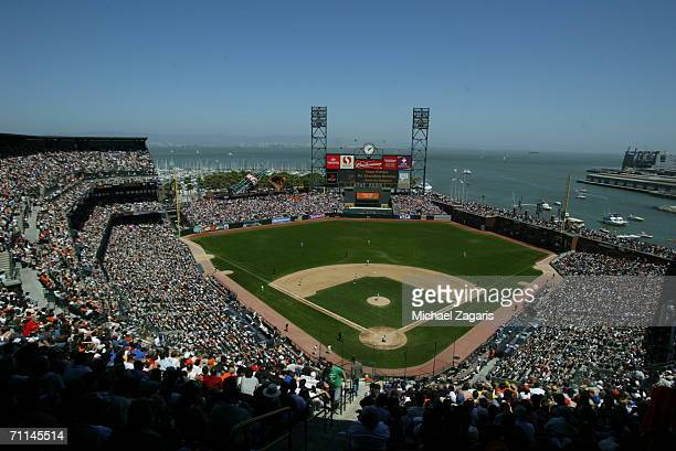 General view of the interior of AT&T Park during the game between the San Francisco Giants and the Los Angeles Dodgers at AT&T Park in San Francisco,...