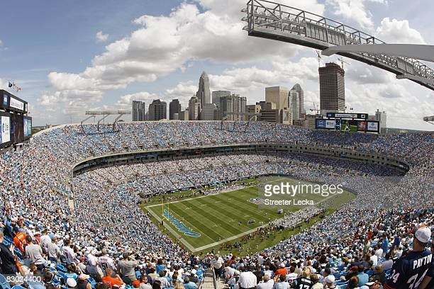 General view of the interior of Bank of America Stadium during the game between the Chicago Bears and the Carolina Panthers on September 14 2008 in...