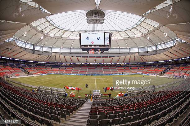 General view of the interior of BC Place seen prior to a match betwen the Vancouver Whitecaps and the Montreal Impact during the finals of the Amway...