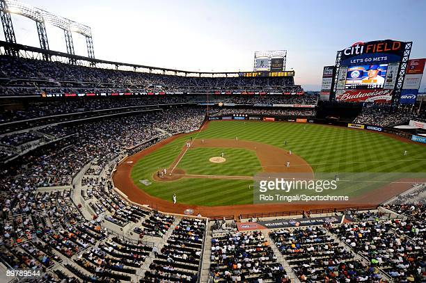 General view of the interior of Citi Field from the upper deck at dusk during a game between the Los Angeles Dodgers against the New York Mets on...