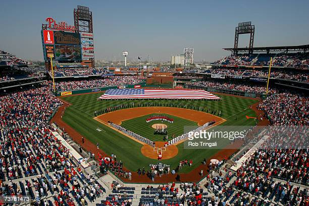 General view of the interior of Citizens Bank Park during the National Anthem before the game between the Atlanta Braves and the Philadelphia...
