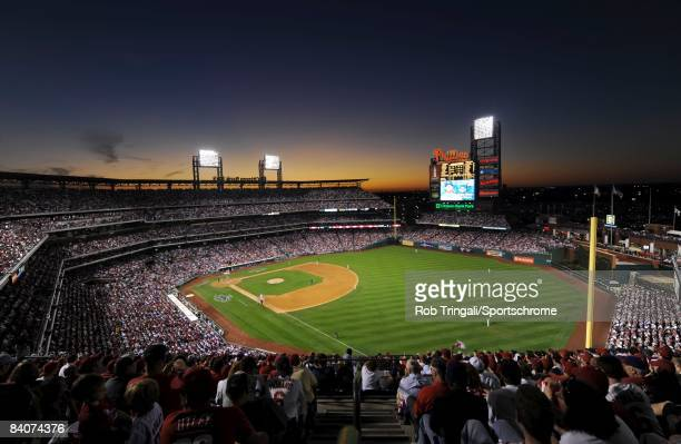 A general view of the interior of Citizens Bank Park from the outfield at dusk during Game Two of the National League Championship Series between the...