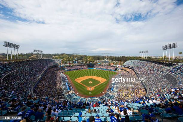 General view of the interior of Dodgers Stadium from an elevated position during the MLB regular season baseball game against the Pittsburgh Pirates...