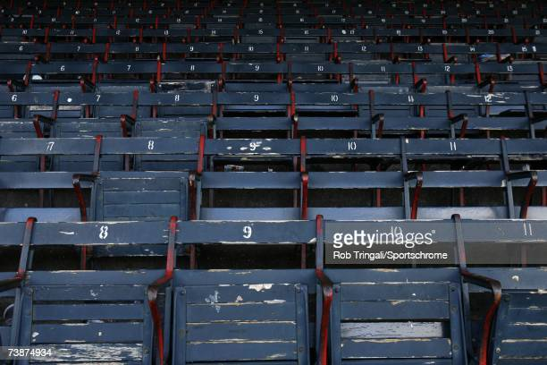 General view of the interior of Fenway Park's seats before a game between the Texas Rangers and the Boston Red Sox on June 11, 2006 at Fenway Park in...