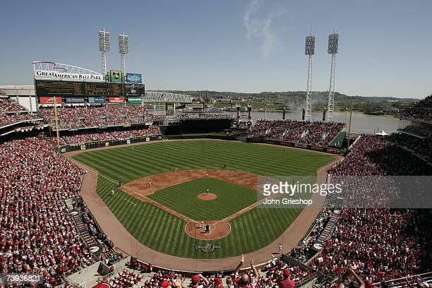A general view of the interior of Great American Ball Park during the game between the Cincinnati Reds and the Chicago Cubs in Cincinnati Ohio on...