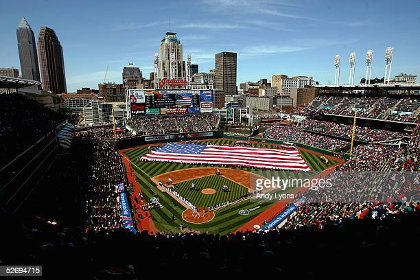 General view of the interior of Jacobs Field during the National Anthem before the game between the Chicago White Sox and the Cleveland Indians on...
