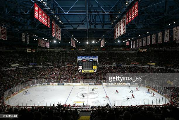 A general view of the interior of Joe Louis Arena as the Detroit Red Wings play the Vancouver Canucks during their NHL game at Joe Louis Arena...