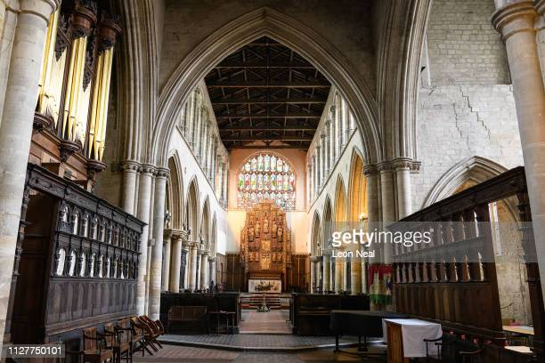 A general view of the interior of King's Lynn Minster on February 05 2019 in King's Lynn England The seaport town of Lynn grew rapidly through the...