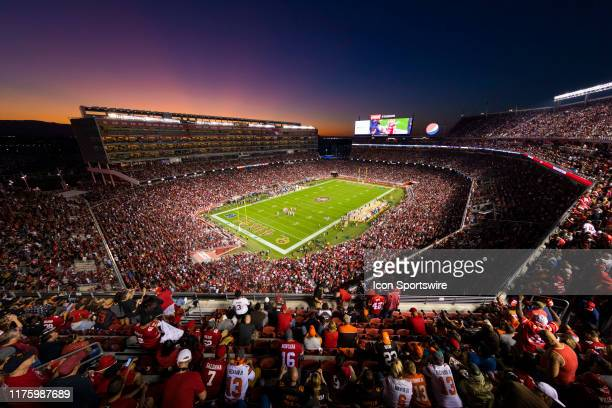 General view of the interior of Levis Stadium from an elevated level at sunset during the NFL regular season football game between the Cleveland...