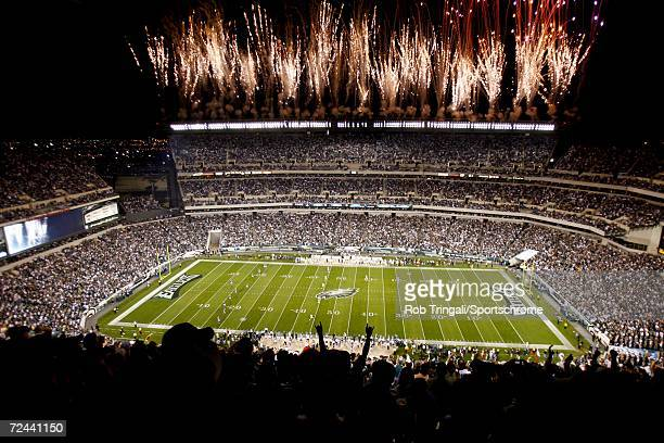 General view of the interior of Lincoln Financial Field at night during the Philadelphia Eagles vs Green Bay Packer game on October 2, 2006 at...
