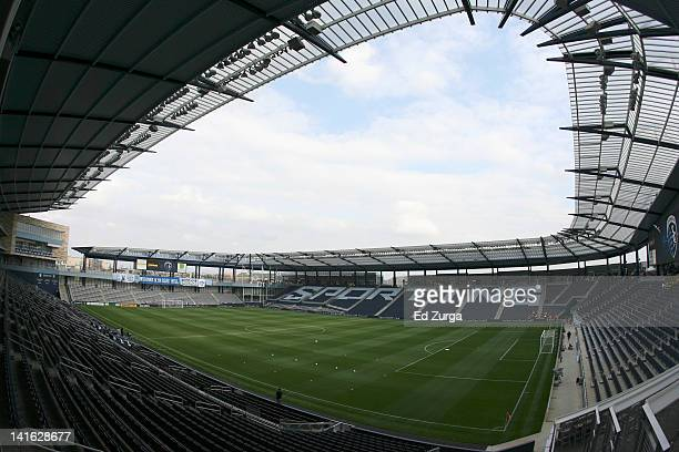 A general view of the interior of Livestrong Sporting Park before a game between New England Revolution and Sporting Kansas City on March 17 2012 in...