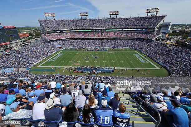 A general view of the interior of LP Field during a game between the Tennessee Titans and the Dallas Cowboys on September 14 2014 in Nashville...