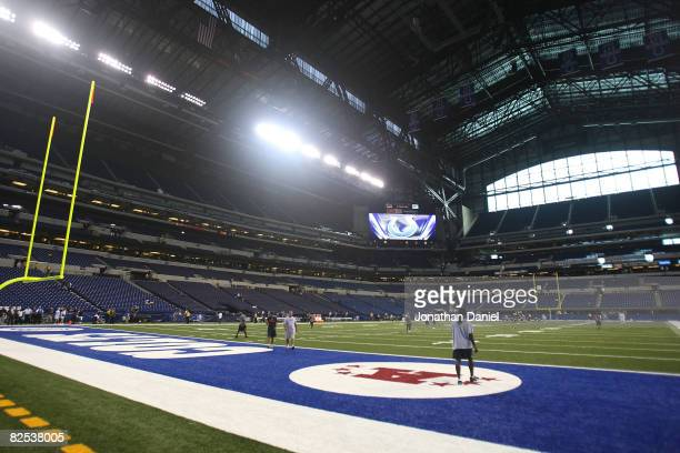 A general view of the interior of Lucas Oil Stadium the new home of the Indianapolis Colts before a preseason game between the Colts and the Buffalo...
