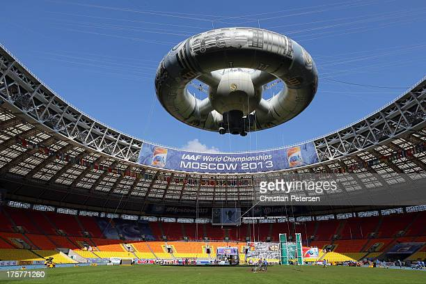 A general view of the interior of Luzhniki Stadium ahead of the 14th IAAF World Athletics Championships Moscow 2013 on August 8 2013 in Moscow Russia