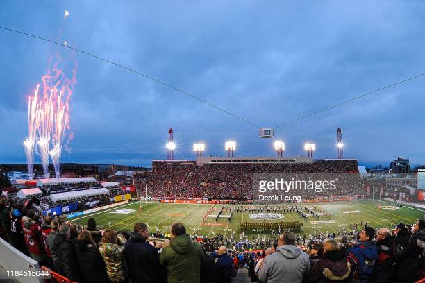 General view of the interior of McMahon Stadium as the national anthem is sang prior to the 107th Grey Cup Championship Game between the Winnipeg...