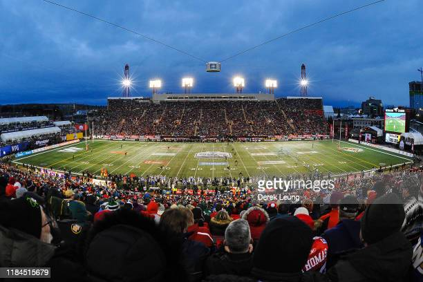 General view of the interior of McMahon Stadium during kick-off to begin the 107th Grey Cup Championship Game between the Winnipeg Blue Bombers and...