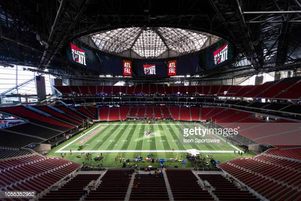 General view of the interior of MercedesBenz Stadium from an elevated position before an NFL regular season game against the New York Giants and the...
