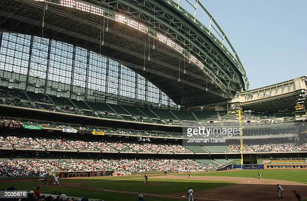 May 17: A general view of the interior of Miller Park during the game between the Milwaukee Brewers and the Cincinnatt Reds on May 17, 2003 in...