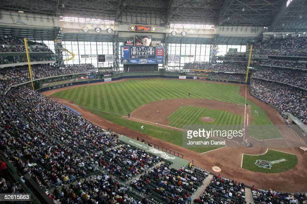 General view of the interior of Miller Park during the opening day game between the Milwaukee Brewers and the Pittsburg Pirates on April 11, 2005 at...