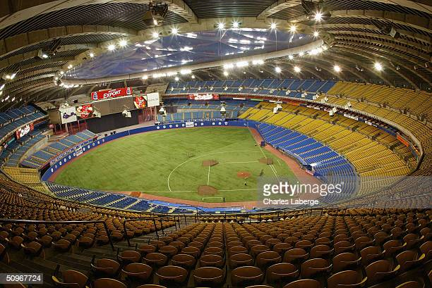 A general view of the interior of Olympic Stadium prior to the game between the Atlanta Braves and the Montreal Expos at Olympic Stadium on May 24...