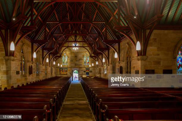 A general view of the interior of St Paul's Anglican Church in Burwood is seen on March 22 2020 in Sydney Australia Churches across Sydney have opted...