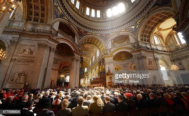 General view of the interior of St Paul's Cathedral during a National service to mark the 200th anniversary of the Battle of Waterloo at St Paul's...