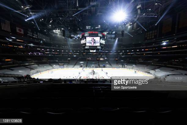 General view of the interior of Staples Center as the puck is dropped during the NHL regular season game against the San Jose Sharks and the Los...