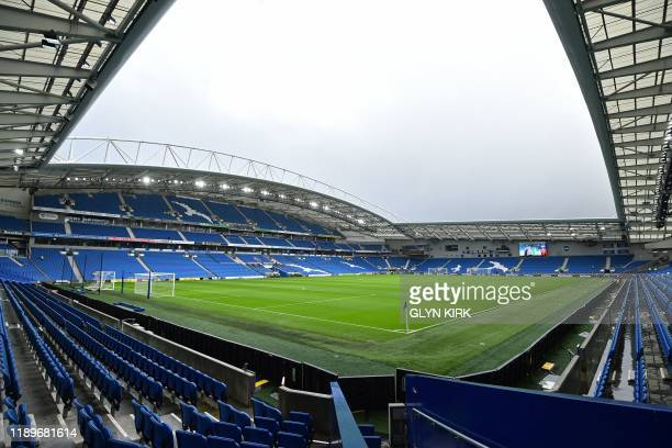 General view of the interior of the Amex Stadium ahead of play in English Premier League football match between Brighton and Hove Albion and...