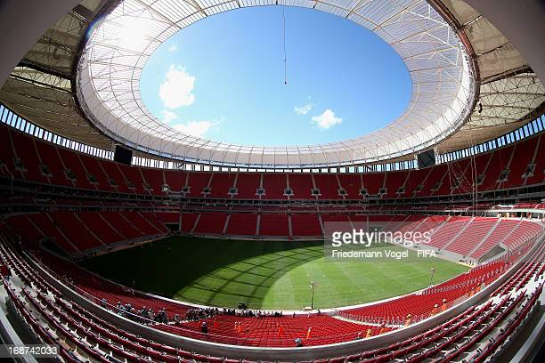 General view of the interior of the brand new National Mane Garrincha Stadium during the 2014 FIFA World Cup Host City Tour on May 14, 2013 in...