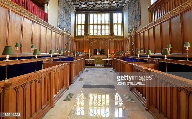 A general view of the interior of the Chapel Royal at St James's Palace in central London on October 17 where Prince George of Cambridge will be...
