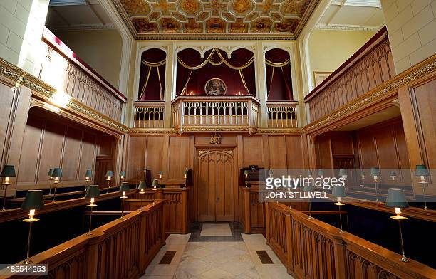 General view of the interior of the Chapel Royal at St James's Palace in central London on October 17 where Prince George of Cambridge will be...