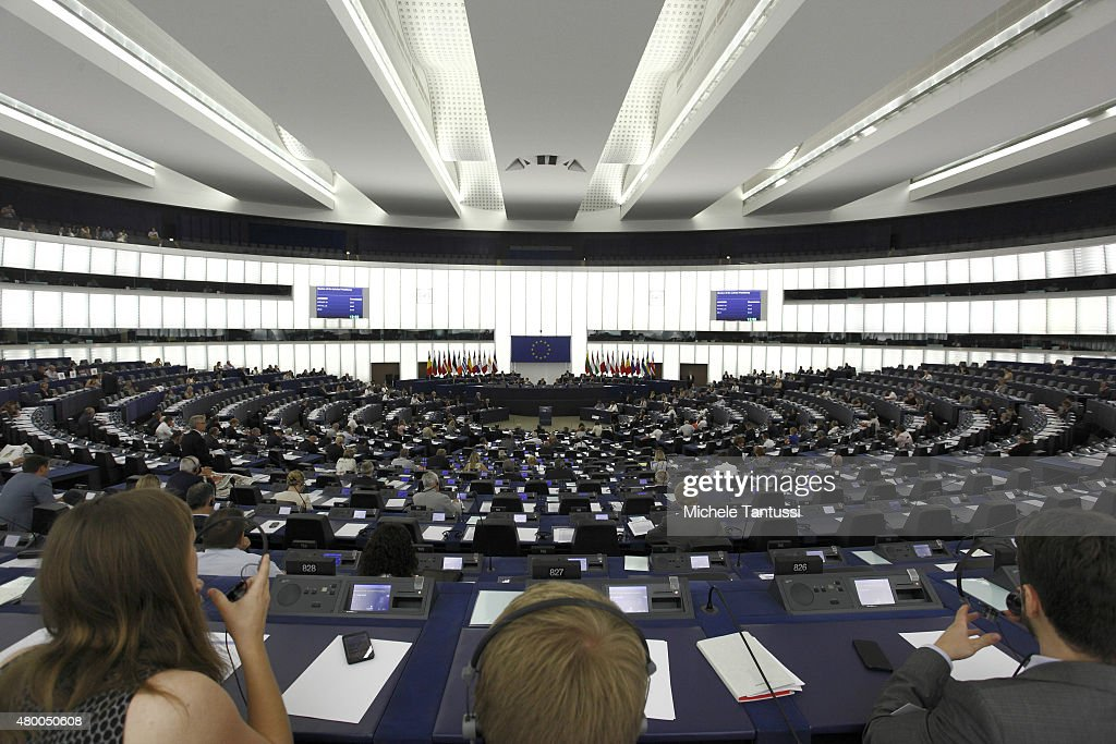 A general view of the interior of The European Parliament on July 8, 2015 in Strasbourg, France. Eurozone member nations have given Greece until Thursday to come up with new proposals to bring the country out of its debt crisis and qualify for further assistance from international creditors. Analysts say that should this final effort fail a departure of Greece from the Eurozone will be inevitable.