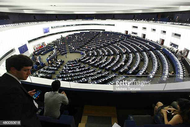 A general view of the interior of The European Parliament on July 8 2015 in Strasbourg France Eurozone member nations have given Greece until...