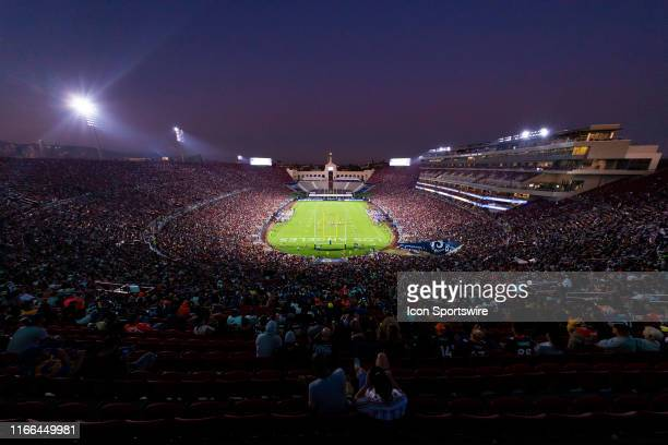 General view of the interior of the Los Angeles Memorial Coliseum from an elevated level during an NFL preseason football game against the Los...