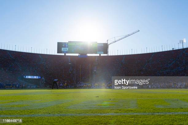 General view of the interior of the Los Angeles Memorial Coliseum from field level during an NFL preseason football game against the Los Angeles Rams...